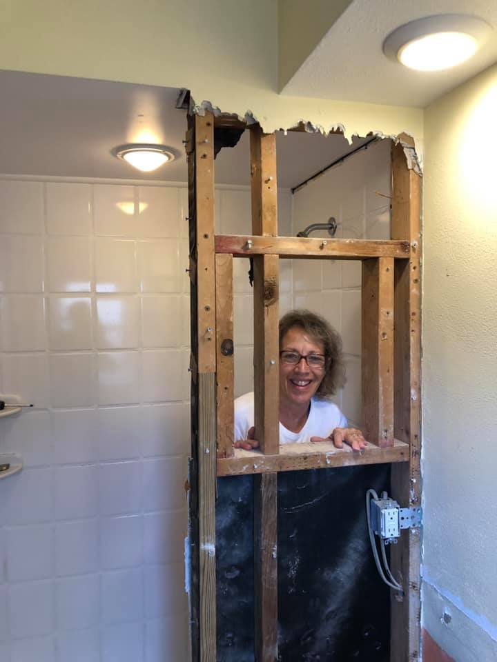 Fay working on remodeling our bathroom